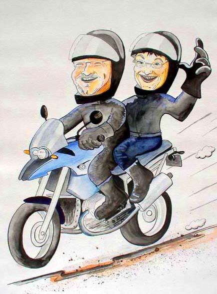 Motorradkarikatur cartoon motorrad